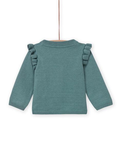 Baby girl khaki green cardigan with swan motif MIKACAR / 21WG09I1CAR612