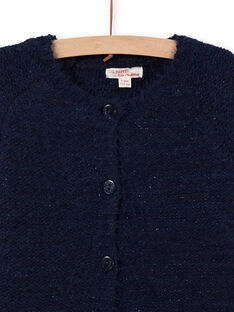 Girl's midnight blue chenille cardigan MAYJOCAR1 / 21W90118CARC205
