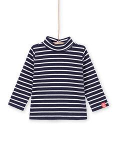 Baby boy navy blue striped long sleeve undershirt MUJOSOUP2 / 21WG10N1SPL070