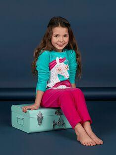 Children's pajamas turquoise girl unicorn pattern LEFAPYJLIC / 21SH1153PYJ209