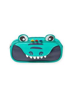 Baby boy green pencil case with crocodile pattern MYOCLATROU / 21WI02G1TROG614