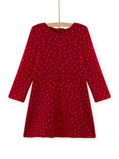 Girl's red skater dress with polka dots in fleece MAJOLROB2 / 21W901N1ROBF504