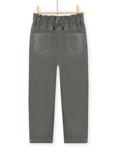 Girl's khaki twill paperbag pants MAKAPANT / 21W901I1PAN626