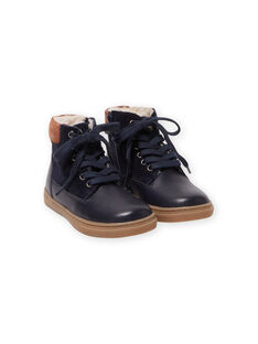 Boys' navy blue lace-up boots MOBASCHARLY / 21XK3682D3F070