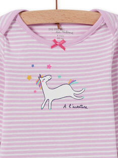 Baby girl lavender striped bodysuit with unicorn design MEFIBODLI / 21WH13C3BDL326