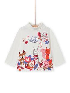 Baby girl's ecru high collar sweater with animal print MIFUNSOUP / 21WG09M1SPL001