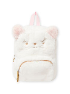 Pink cat backpack in fake fur for baby girl MYICLASAC / 21WI09G1BES001