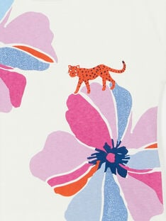 Ecru and pink t-shirt with floral print and leopard in cotton LABLETI / 21S901J1TMC001