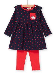 Navy blue dress and baby girl red leggings LIHAENS / 21SG09X1ENS070