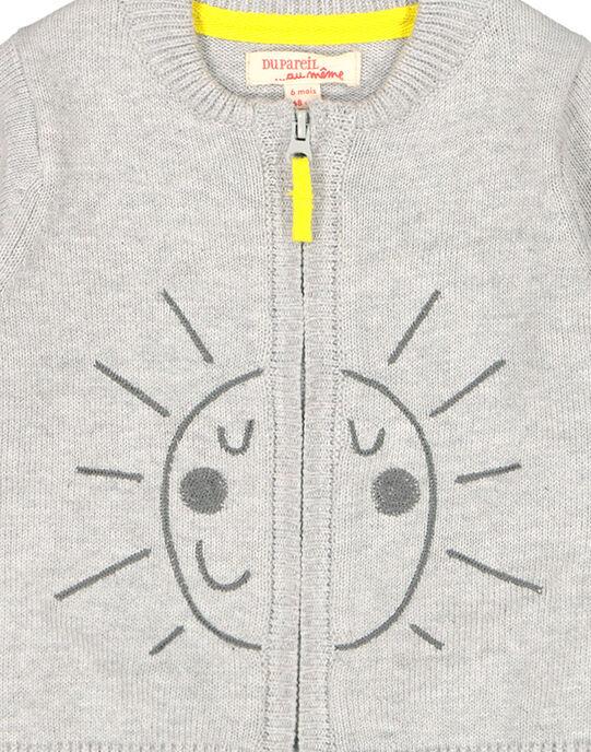 Baby boys' grey zipped cardigan FUJOGIL1 / 19SG1031GILJ908