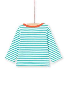 Baby Boy Long Sleeve Turquoise & White Stripe Raccoon T-Shirt MUJOTEE2 / 21WG1023TMLC217