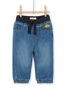 Dark blue cotton baby boy jeans LUJOJEAN / 21SG1032JEAK005