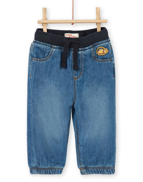Dark blue cotton baby boy jeans LUJOJEAN / 21SG1032JEAK005