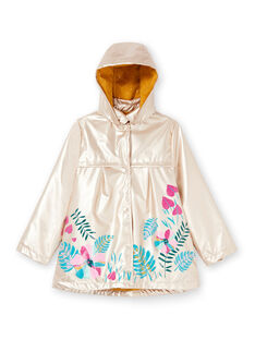 Golden raincoat with floral print LANAUIMPER / 21S901R2IMPK008