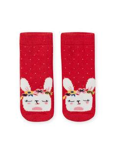 Baby girl's red socks with bunny dots LYIHACHOB / 21SI09X1SOQ505