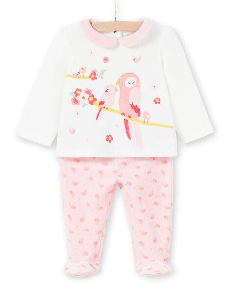 Baby girl's velvet pajamas with bird patterns LEFIPYJAMI / 21SH1311PYJ001