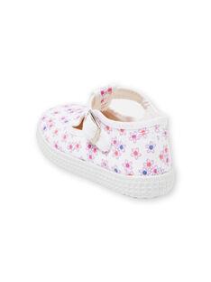 Baby girl's white floral printed canvas pumps LBFSALFLEUR / 21KK3743D17000