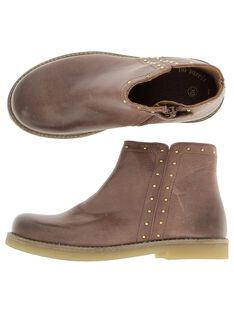 Girls' leather boots DFBOOTCHRI / 18WK35TBD0D804