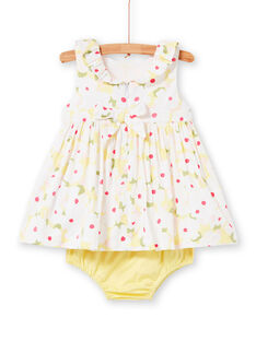 White dress with floral print and yellow bloomer baby girl LIBALROB1 / 21SG09O2ROB000