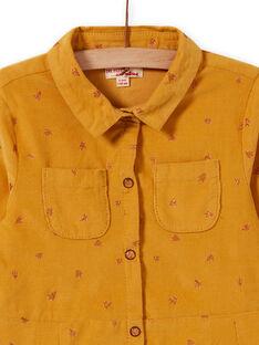 Girl's yellow velvet dress with fancy pattern MASAUROB3 / 21W901P1ROBB107