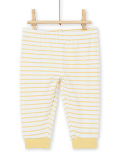 Long sleeve monkey print polo shirt and striped leggings boy birth set LOU1ENS3 / 21SF04H1ENS000