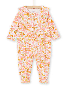 White and pink sleepsuit printed baby girl jersey flower print LEFIGREAOP2 / 21SH135CGRE632