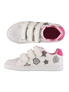 Girls' smart trainers with glitter patches FFBASPATCH / 19SK3533D3F000