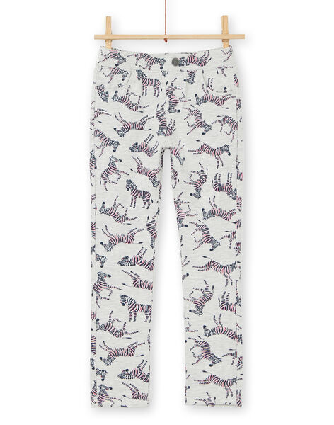 Heather gray and blue jeggings with zebra print in brushed fleece LAJOPANT3 / 21S90132D2B006