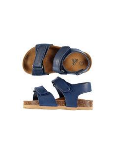 Baby boys' smart leather sandals. FBGNUBLUE / 19SK38D3D0EC218
