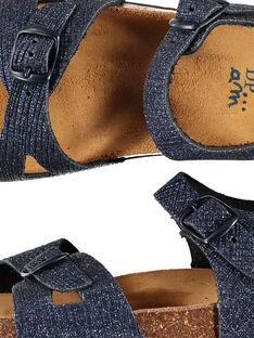 Girls' smart iridescent leather sandals FFNUNIGHT / 19SK35D7D0E070