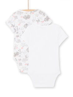 Set of 2 white bodysuits birth girl LOU2BOD2 / 21SF03I1BOD000