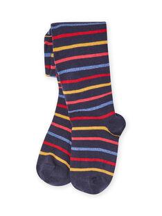 Girl's blue striped tights MYAMIXCOL / 21WI01J1COLC205