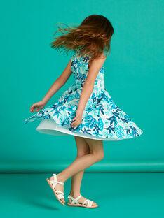 Baby girl's white and blue leaf print dress LAVEROB3 / 21S901Q1ROB001