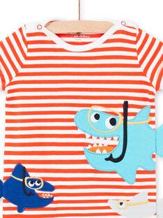 Boy's striped baby romper with shark print LEGAGREQUI / 21SH14C2GRE509