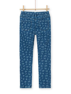 Blue Jegging with cherry print LAJOJEG1 / 21S90142D2BP274