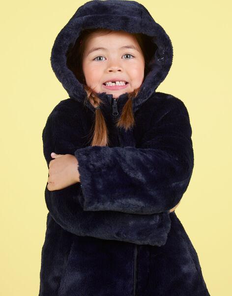 Reversible navy blue parka in fake fur for baby girl MANUIPARKA / 21W90154PAR070