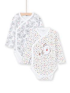 2 white bodysuits birth girl LOU1BOD3 / 21SF03H1BOD000