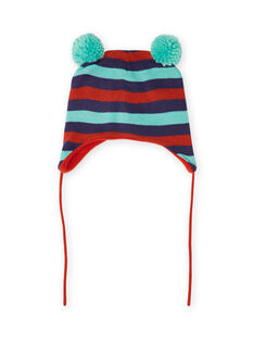 Baby boy stripes and pom-poms beanie MYUGROBON / 21WI1054BONC234