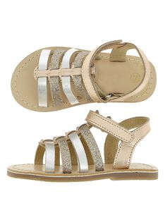 Baby girls' leather sandals CBFSANDGLI / 18SK37W3D0E954