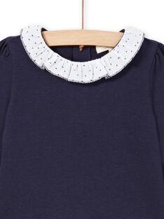 Baby girl navy blue and white T-shirt MIJOBRA3 / 21WG0913BRA070