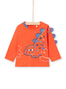 Baby boy red long sleeve dinosaur t-shirt MUPATEE2 / 21WG10H3TMLF524