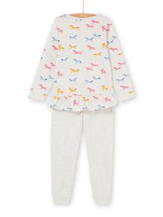 Pyjama t-shirt and pants grey and pink child girl LEFAPYJUNI / 21SH115APYJ006