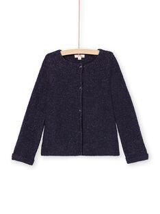 Girl's long-sleeved vest, plain night blue MAJOCAR1 / 21W90113CARC205