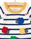 Baby boy ecru and navy blue striped sweater MUMIXPUL / 21WG10J1PUL001