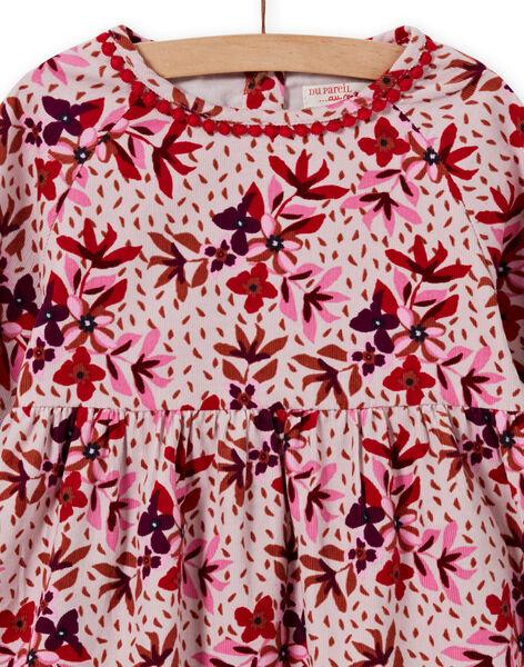 Girl's corduroy dress with floral print MACOMROB1 / 21W901L1ROBD329