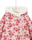Reversible hooded parka ecru and pink child girl MACAPARKA / 21W90162PARD329