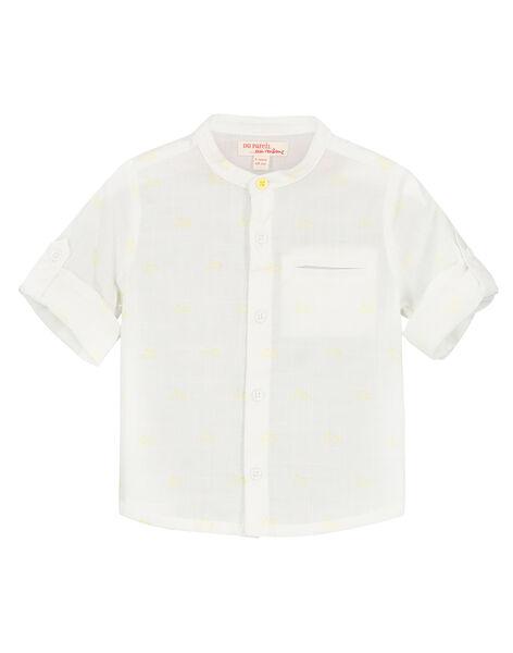 Baby boys' white Mandarin collar shirt FUPOCHEM / 19SG10C1CHM099