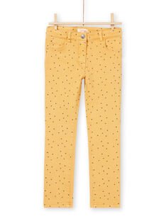 Girl's mustard twill star print pants MAJOPANT1 / 21W90123PANB106