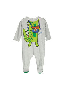 Baby boys' cotton sleepsuit FEGAGRECRO / 19SH1446GREJ906