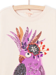 Girl's light pink long sleeve sweatshirt with parrot animation MAPASWEA / 21W901H1SWED319